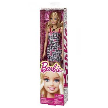 Кукла Барби в платье с надписями Barbie T7439