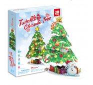 3D пазлы Cubic Fun Кубик фан Новогодняя елка с подсветкой 23 детали