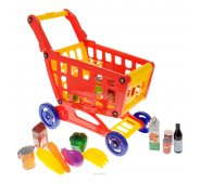Игровой набор Boley Продуктовая тележка с кассой и набором продуктов, 47 предмета в наборе