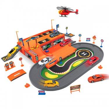 Игровой набор Welly Велли Игровой набор Гараж,  включает 3 машины и вертолет