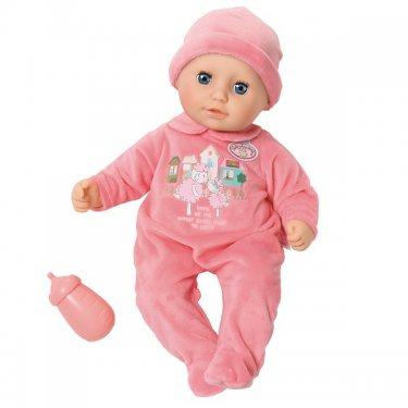 Zapf Creation Кукла Бэби Аннабель в розовом комбинезоне с бутылочкой, 36 см