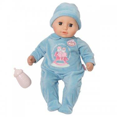 Zapf Creation my first Baby Annabell Кукла-мальчик в голубом комбинезоне с бутылочкой, 36 см