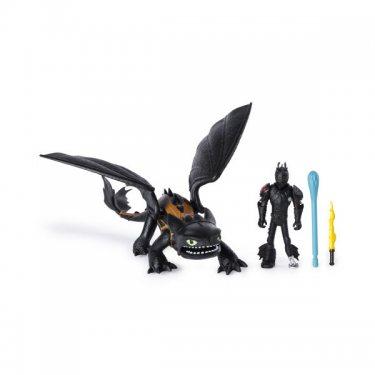 Игровой набор Dragons Тайный Мир Дракон Беззубик Ночная Фурия (17 см) и Иккинг