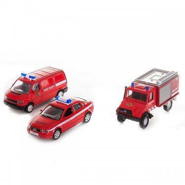 """Машинка Welly 99610-3C Велли Игровой набор машин """"Пожарная служба"""" 3 шт."""
