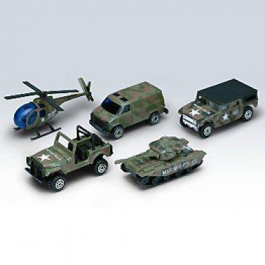 """Машинка Welly 97506C Велли Игровой набор """"Военно-полицейская команда"""" 5 шт."""