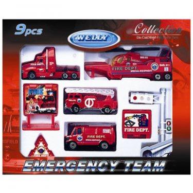 """Машинка Welly 98630-9C Велли Игровой набор """"Служба спасения - пожарная команда""""  9 шт."""