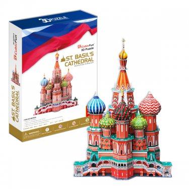 3D пазлы Cubic Fun Кубик фан Собор Василия Блаженного 2 (Россия) 214 деталей