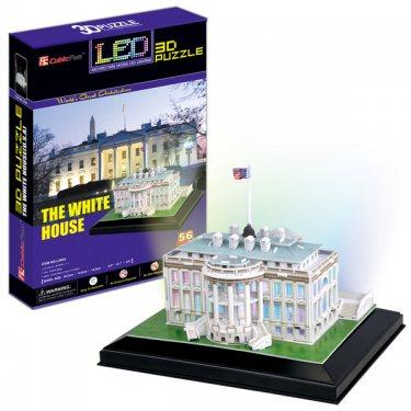 3D пазлы Cubic Fun Кубик фан Белый дом с иллюминацией  (Вашингтон) 56 деталей